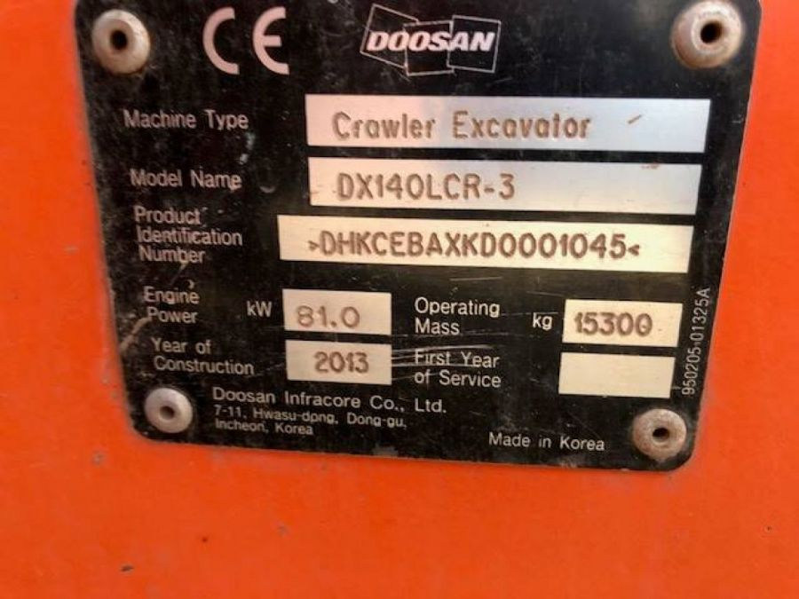 Used Excavator 2013 Doosan DX140LC for Sale - 5 - Thumbnail