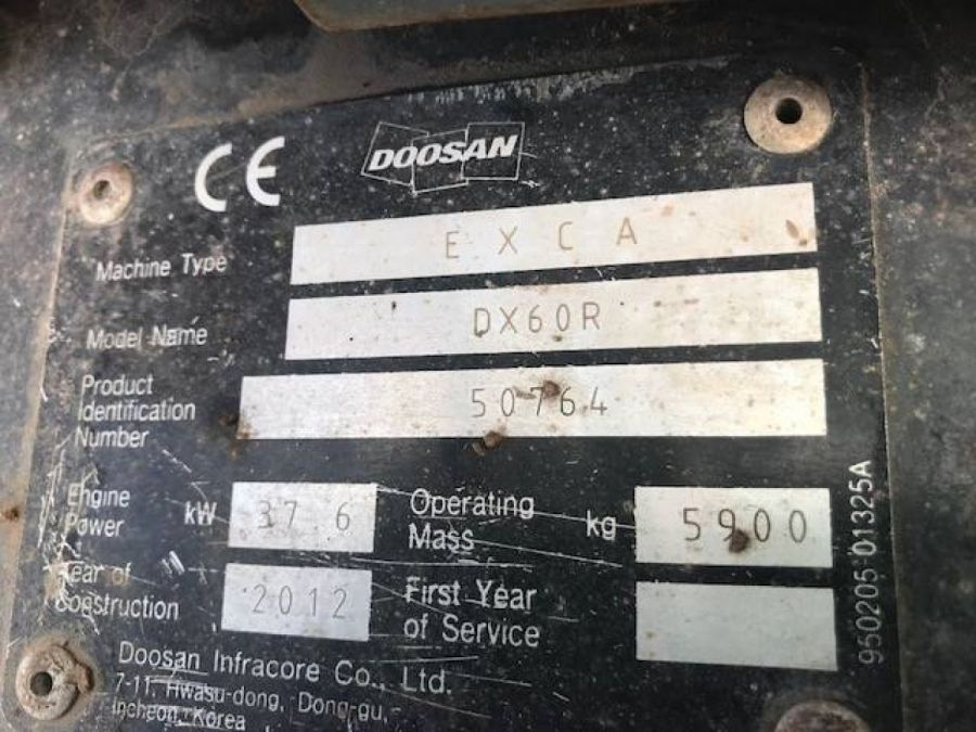 Used Excavator 2012 Doosan DX60R for Sale - 5